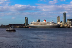 Queen Mary II. Passenger ship Queen Mary II liner docked on the River Mersey Liverpool Stock Image