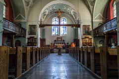 Queen Mary kościół w Poznańskim, Kosciol Maryi Krolowej - Nave Obrazy Royalty Free