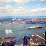 1967 Queen Mary leaves NYC for last time. Royalty Free Stock Images