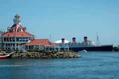 Queen Mary, Long Beach, CA. Long Beach Harbor, including Pavilion and Queen Mary Royalty Free Stock Images