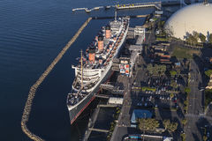 Queen Mary Long Beach California Aerial Stock Images