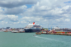 Queen Mary 2 ocean going transatlantic liner and cruise ship at Southampton Docks England UK Stock Photography