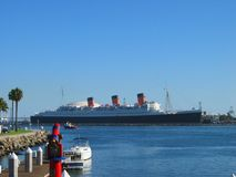 The Queen Mary Ocean Liner. Long Beach Harbor, California, USA royalty free stock image
