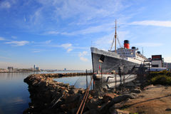 Queen Mary and Russian Scorpion in Long Beach, CA Royalty Free Stock Photo