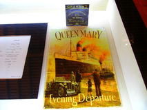 `Queen Mary`. Showcase in Graham`s winery  in Porto. This wine was on the first class wine list on the maiden voyage of the Queen Mary in May, 1936 Stock Image