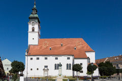 Queen Mary and St. Gotthard Church. In Mosonmagyarovar, Hungary Stock Photos