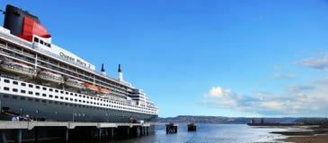 Queen Mary 2 statek w LaBaie Fotografia Royalty Free