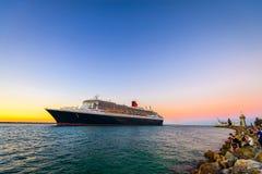 Queen Mary 2 statku wycieczkowego odjazd zdjęcie royalty free
