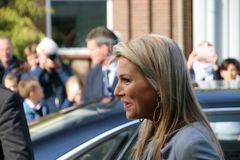 Moerkapelle , The Netherlands - October 3rd 2018 - Queen Maxima of the Netherlands is visiting a company in Moerkapelle, The Neth. Queen Maxima arrives with big stock photo