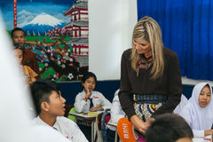 Queen Maxima of the Netherland Visit to Indonesia. Her Majesty Queen Máxima of the Netherlands has served as the UN Secretary-General's Special Advocate for Royalty Free Stock Images