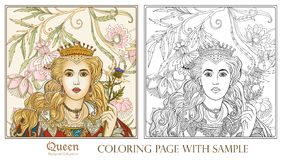 Queen on medieval floral pattern background. Royalty Free Stock Image