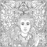 Queen on medieval floral pattern background.  Coloring book  Stock Image