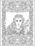 Queen on medieval floral pattern background.  Coloring book   Stock Photography