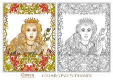 Queen on medieval floral pattern background. Stock Images