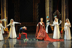 The Queen Mother is very sad.-The prince adult ceremony-ballet Swan Lake Stock Images
