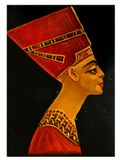 Queen Nefertiti. Old vintage bust of Queen Nefertiti - closeup of damaged lacquer painted wooden brooch c. 1950 Royalty Free Stock Image