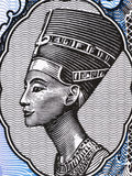Queen Nefertiti. (1370-1330 BC) on 5 Piastres 1998 Banknote from Egypt. Great Royal Wife of the Egyptian Pharaoh Akhenaten Royalty Free Stock Image