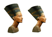 Queen Nefertiti Isolated on White. Famous bust of Queen Nefertiti isolated on white Royalty Free Stock Photo