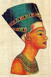 Queen Nefertiti on Papyrus. Queen Nefertiti on Egyptian Papyrus Royalty Free Stock Photo