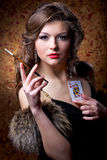 Queen Of Poker Royalty Free Stock Photography
