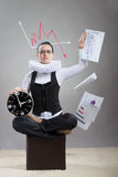 Queen of office, concept. Business lady in ruff collar with a clock scattering the papers with the graphs Royalty Free Stock Photo