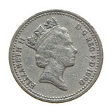 The Queen on One Pound coin Stock Photos