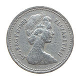 The Queen on One Pound coin Royalty Free Stock Photos