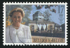 Queen Paola. RUSSIA KALININGRAD, 26 OCTOBER 2015: stamp printed by Belgium, shows Queen Paola, circa 1997 Royalty Free Stock Photography