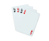 Queen Playing cards poker. Isolated on white background Stock Images