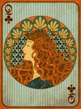 Queen Poker Clubs Card In Art Nouveau Style Stock Images