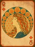 Queen poker diamonds card in art nouveau style. Vector illustration stock illustration