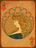 Queen poker hearts card in art nouveau style. Vector illustration Stock Photography