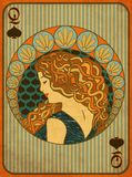Queen Poker Spades Card In Art Nouveau Style Royalty Free Stock Photo