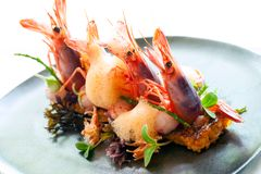 Queen prawns with paella rice. Stock Image