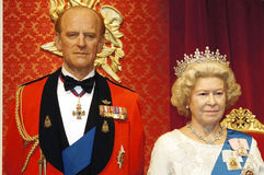 The queen and the prince. Picture of Queen Elizabeth and Prince Philip in madame tussauds Stock Photography