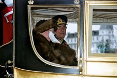 QUEEN AND PRINCE DROVE IN ROYAK CARRIAGE. Copenhagen /Denmark - 06 January 2004 _Queeb Margrethe and Prince hernik drove in royal carriage for new years rception stock photos