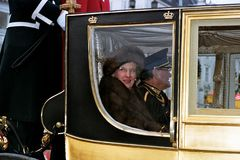 QUEEN AND PRINCE DROVE IN ROYAK CARRIAGE. Copenhagen /Denmark - 06 January 2004 _Queeb Margrethe and Prince hernik drove in royal carriage for new years rception stock images