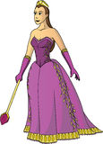Queen in Purple. A beautiful, regal queen holding a scepter vector illustration