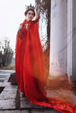 Queen in the red cloak. Fashion shot Stock Photo