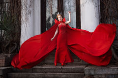 Queen in the red cloak. Fashion shot Royalty Free Stock Images