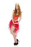 Queen in red dress isolated Royalty Free Stock Image