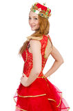 Queen in red dress isolated Royalty Free Stock Images