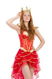 Queen in red dress isolated Stock Image