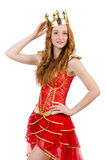 Queen in red dress isolated Royalty Free Stock Photography