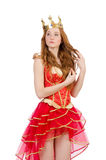 Queen in red dress isolated stock photo