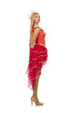 Queen in red dress isolated stock photos