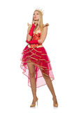 Queen in red dress isolated Royalty Free Stock Photos