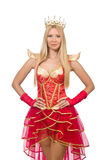 Queen in red dress isolated Royalty Free Stock Photo