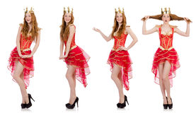 The queen in red dress isolated on white Royalty Free Stock Photos