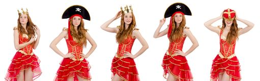 The queen in red dress isolated on white Royalty Free Stock Images